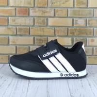Sepatu sekolah anak murah adidas hitam garis putih