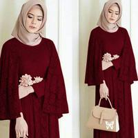maxi cape regina marun fashion wanita gamus dres baju muslim