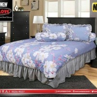 bedcover set my love motif bunga sakura warna ungu ( flat ) 180x200