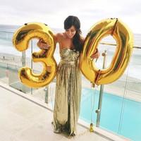 balon angka huruf jumbo besar 100 cm gold silver big jumbo balloon