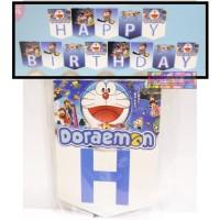 banner - Bunting flag happy birthday Doraemon - dekorasi ulang tahun