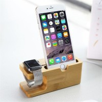 Bamboo Wooden Charging Dock Stand for Apple Watch 38mm 42mm iPhone