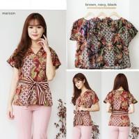 Baju kerja cewek wanita batik blouse atasan dress zaman now