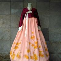 Hanbok baju adat / tradisional korea motif lukis A hambok hanbook