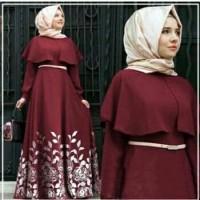 Baju Muslim Wanita Gamis Daun Turkez Maron