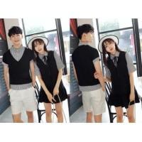 5496 grosir baju couple fashion korea v neck black shirt blouse hitam