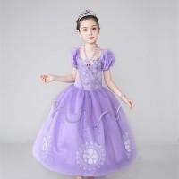 Baju Anak Gaun Dress Kostum Princess Sofia Perak Lapis Tile