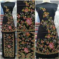 Kain bordir bakal baju motif bunga songket