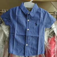 Baju anak bayi laki import branded kemeja polo list baby blue fashion