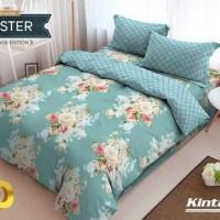 bedcover set kintakun deluxe motif bunga warna biru muda 180x200 halus