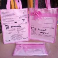 Tas Souvenir undangan pernikahan kain spunbond bahan TEBAL, free desig