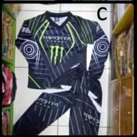 Setelan Anak Motor Cross / Baju MotorCross Anak monster abu