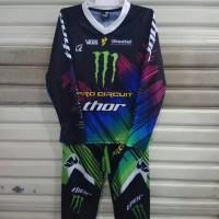 Setelan Anak Motor Cross / Baju MotorCross Anak monster hijau biru