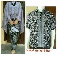 Baju Couple / Copel Kebaya & Kemeja Batik Safaluna Glitter Abu