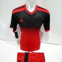 setelan olahraga kaos bola jersey futsal baju volly adidas hitam merah