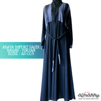 Abaya Impor Arab Saudi (AS-003) Dress Islami Hijab Fashion Hijaber