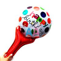 Balon foil Happy Birthday Pentung Red Polkadot