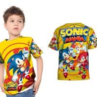 Kaos Baju Anak Fullprint Custom SONIC MANIA 01