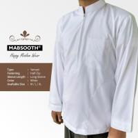 New! Baju Koko Resleting Pria Muslim - Lengan Panjang Polos Putih