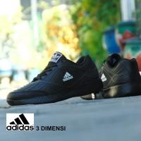 Sepatu Sport Adidas 3D Skin - Full Hitam Black - Casual Sekolah Kerja