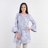 Batik Pria Tampan - Blouse Sophia Charcoal Tropical Vine