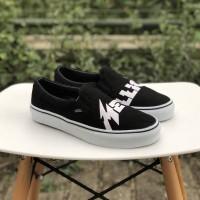 Sepatu Vans Slipon Metallica Logo Black White Premium ICC Limited Stok