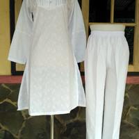 Setelan celana putih dewasa katun baju umroh haji size wanita