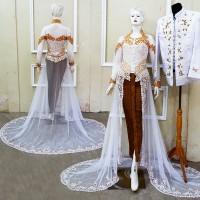 Kebaya Pengantin Ekor Baju Akad Mewah Couple Free Rok Selop 2 pasang
