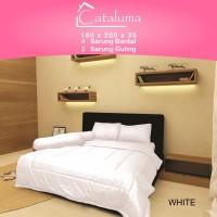 Sprei Set Polos WHITE- King Size Ukuran 180x200x30 - 4 Bantal