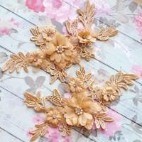 sepasang patch/lace/bordir/patch baju/bordir bunga 3d/bordir pengantin