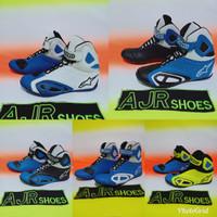 Sepatu drag touring alpinestar kombinasi biru
