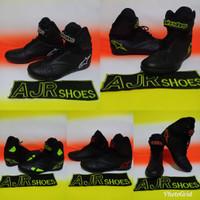 Sepatu drag alpinestar hitam polos bordir merah-putih- stabilo- oren