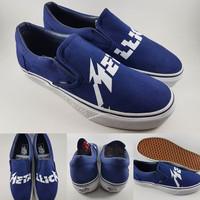 Sepatu Kets Vans Slip On X Metallica Canvas Dark Blue Biru Navy