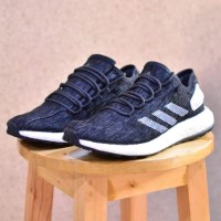 Jual sepatu adidas pureboost black strip white
