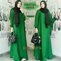 Baju Muslim Gamis Wanita Kaftan Abaya Pakistan Hijau Botol Murah