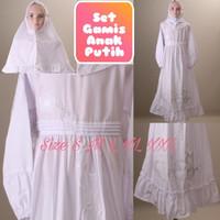 Baju Muslim Gamis Manasik Anak Perempuan Putih 4-8 Thn