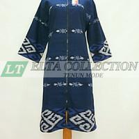 dress/tunik full tenun ikat blanket motive toraja warna biru Dongker - XS
