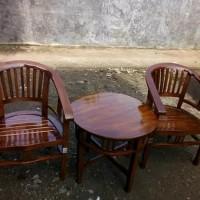 FREE ONGKIR kursi teras dan tamu jati amerika betawi 2 kursi dan meja