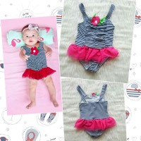 Baju Renang Bayi One Piece Stripe Navy Tutu Fushia - Swimsuit Baby