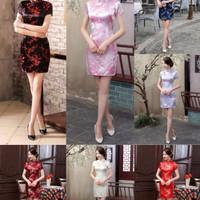 Baju Cheongsam Dress / Qipao / Gaun Lamaran Motif China / Qipao Impor