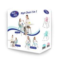 Baby Safe High Chair 3 in 1 - Kursi MAkan Anak Bayi - Booster Seat