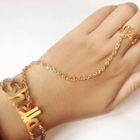 Gelang nama sambung cincin lapis emas 24k