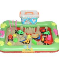 Mainan Pasir Ajaib Play Sand 1Kg + Transportasi Kontruksi +Alas Balon