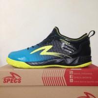 Sepatu Futsal Specs Metasala Musketeer Black Coctail Blue 400735 Ori
