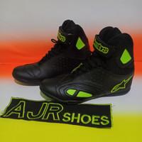 Sepatu drag Alpinestar K-pro hitam polos bordir stabilo