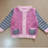 sweater pink garis cardigan bayi anak baju hangat