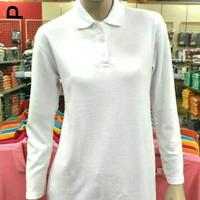 Kaos Wanita Polo Shirt Lengan Panjang Kaos Cewek Poloshirt Warna Putih