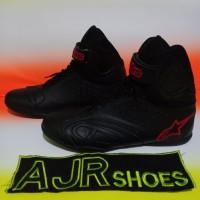 Sepatu drag touring alpinestar k- pro hitam polos bordir merah