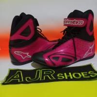Sepatu drag touring alpinestar k- pro hitam pink