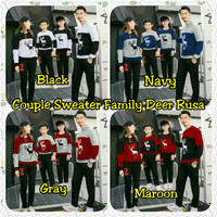 Baju Keluarga 2 Anak Lengan Panjang Couple Sweater Family Deer Rusa